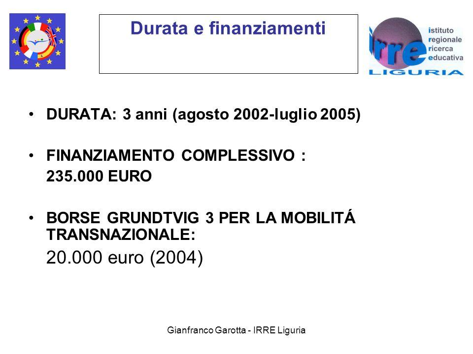 Gianfranco Garotta - IRRE Liguria Durata e finanziamenti DURATA: 3 anni (agosto 2002-luglio 2005) FINANZIAMENTO COMPLESSIVO : 235.000 EURO BORSE GRUNDTVIG 3 PER LA MOBILITÁ TRANSNAZIONALE: 20.000 euro (2004)