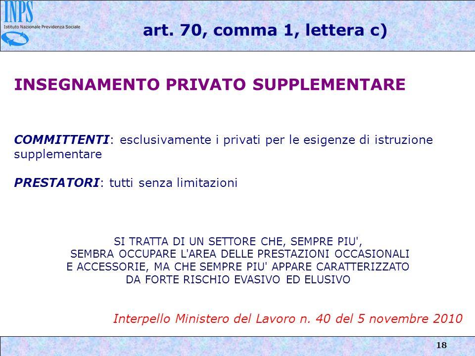 18 INSEGNAMENTO PRIVATO SUPPLEMENTARE COMMITTENTI: esclusivamente i privati per le esigenze di istruzione supplementare PRESTATORI: tutti senza limita