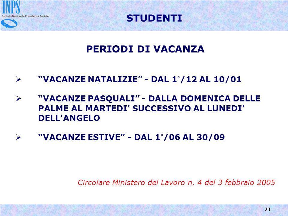 21 STUDENTI PERIODI DI VACANZA VACANZE NATALIZIE - DAL 1°/12 AL 10/01 VACANZE PASQUALI - DALLA DOMENICA DELLE PALME AL MARTEDI' SUCCESSIVO AL LUNEDI'