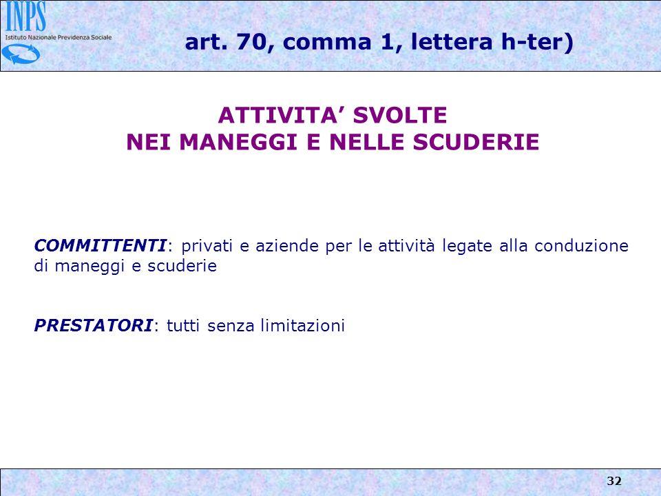 32 art. 70, comma 1, lettera h-ter) ATTIVITA SVOLTE NEI MANEGGI E NELLE SCUDERIE COMMITTENTI: privati e aziende per le attività legate alla conduzione