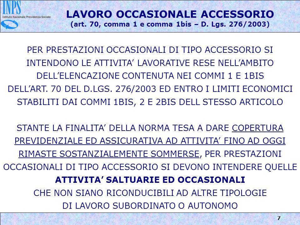 8 LAVORO OCCASIONALE ACCESSORIO (art.70, comma 1 e comma 1bis – D.