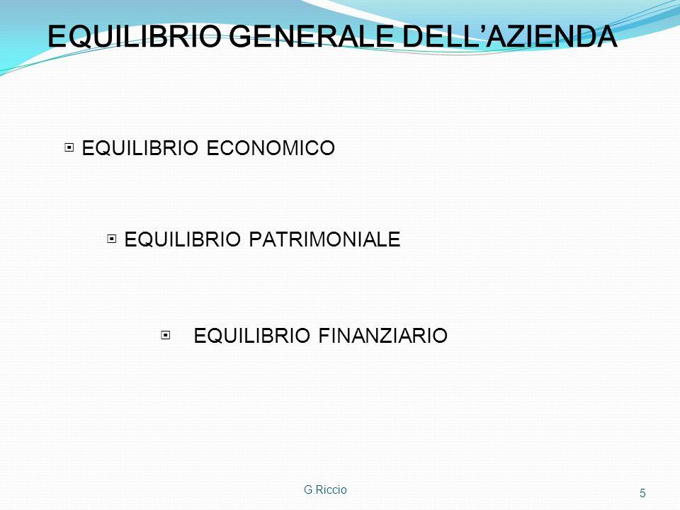 G.Riccio 5 EQUILIBRIO GENERALE DELLAZIENDA EQUILIBRIO ECONOMICO EQUILIBRIO PATRIMONIALE EQUILIBRIO FINANZIARIO