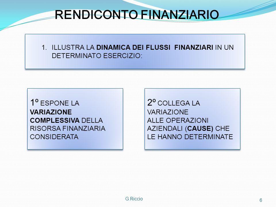G.Riccio 6 RENDICONTO FINANZIARIO 1.ILLUSTRA LA DINAMICA DEI FLUSSI FINANZIARI IN UN DETERMINATO ESERCIZIO: 1º ESPONE LA VARIAZIONE COMPLESSIVA DELLA