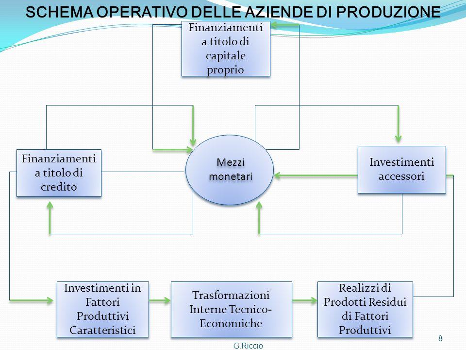 G.Riccio 8 SCHEMA OPERATIVO DELLE AZIENDE DI PRODUZIONE Mezzi monetari Finanziamenti a titolo di credito Finanziamenti a titolo di capitale proprio In