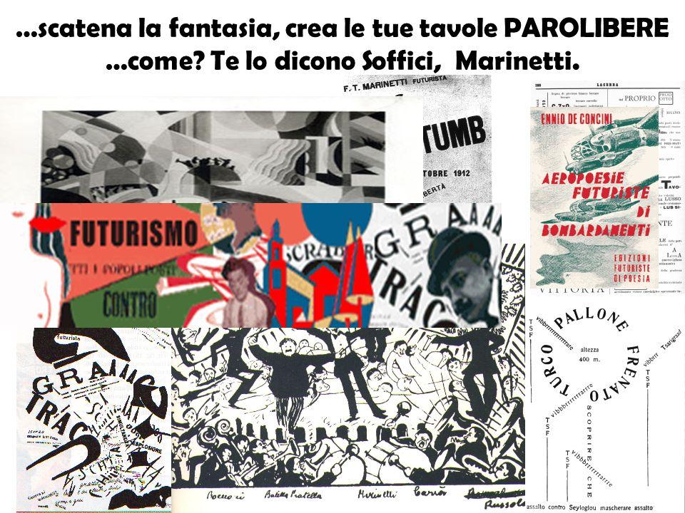 …scatena la fantasia, crea le tue tavole PAROLIBERE …come? Te lo dicono Soffici, Marinetti.