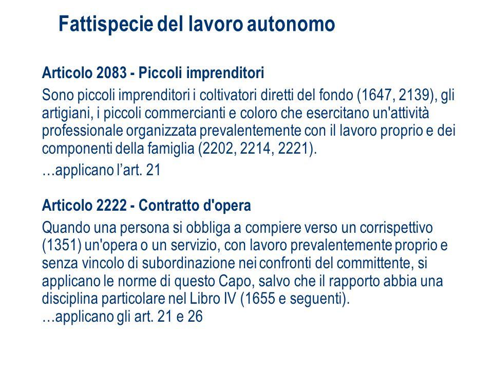 Fattispecie del lavoro autonomo Articolo 2083 - Piccoli imprenditori Sono piccoli imprenditori i coltivatori diretti del fondo (1647, 2139), gli artig
