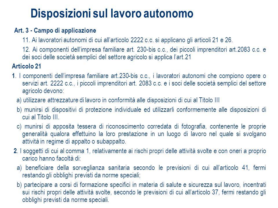 Disposizioni sul lavoro autonomo Art. 3 - Campo di applicazione 11. Ai lavoratori autonomi di cui allarticolo 2222 c.c. si applicano gli articoli 21 e