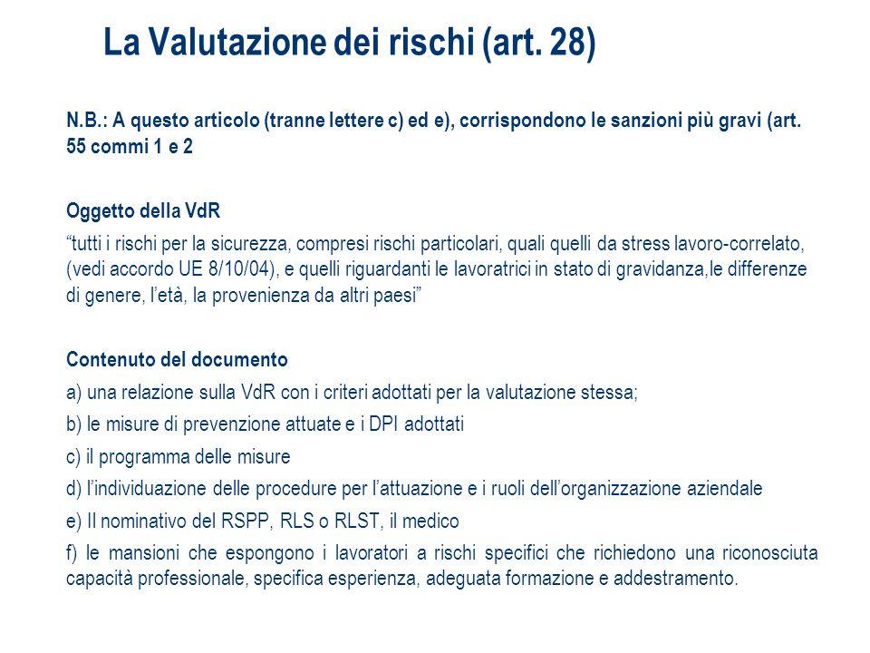 La Valutazione dei rischi (art. 28) N.B.: A questo articolo (tranne lettere c) ed e), corrispondono le sanzioni più gravi (art. 55 commi 1 e 2 Oggetto