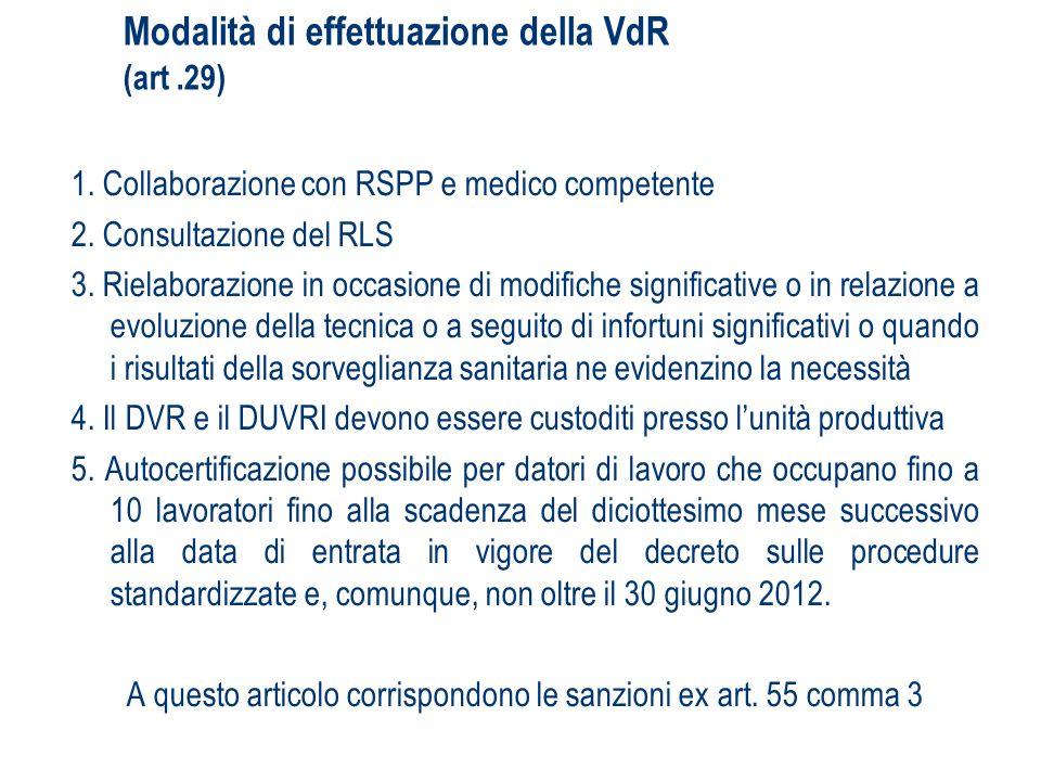 Modalità di effettuazione della VdR (art.29) 1. Collaborazione con RSPP e medico competente 2. Consultazione del RLS 3. Rielaborazione in occasione di
