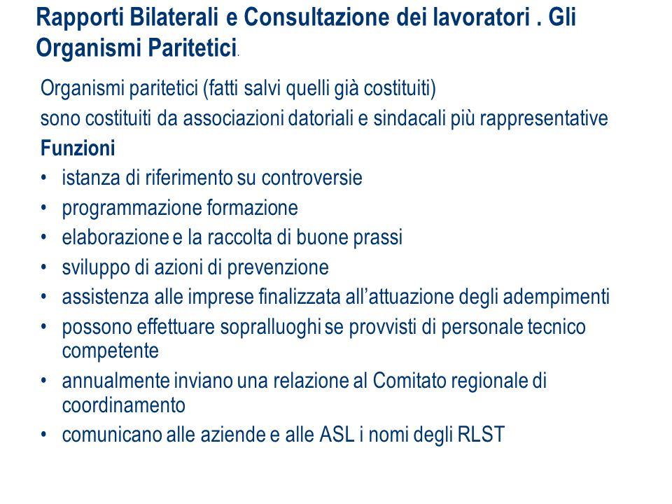 Rapporti Bilaterali e Consultazione dei lavoratori. Gli Organismi Paritetici. Organismi paritetici (fatti salvi quelli già costituiti) sono costituiti