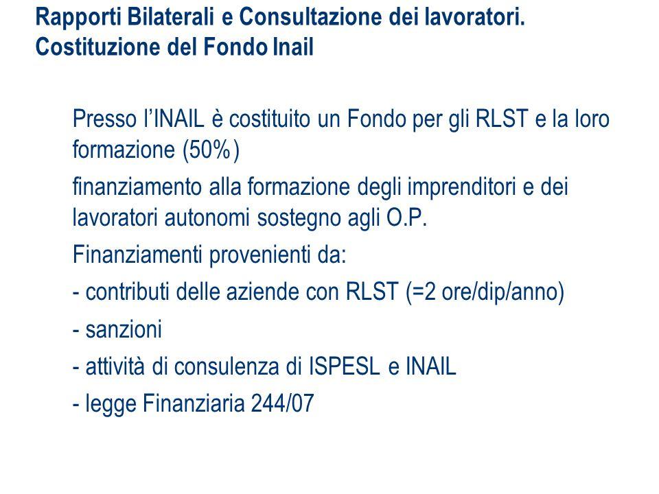 Rapporti Bilaterali e Consultazione dei lavoratori. Costituzione del Fondo Inail Presso lINAIL è costituito un Fondo per gli RLST e la loro formazione