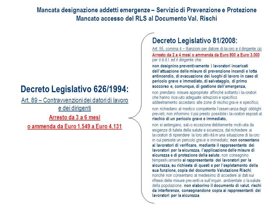 Decreto Legislativo 81/2008: Art. 55, comma 4 – Sanzioni per datore di lavoro e il dirigente (a) Arresto da 2 a 4 mesi o ammenda da Euro 800 a Euro 3.
