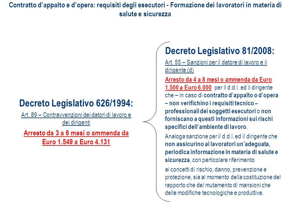 Decreto Legislativo 626/1994: Art. 89 – Contravvenzioni dei datori di lavoro e dei dirigenti Arresto da 3 a 6 mesi o ammenda da Euro 1.549 a Euro 4.13