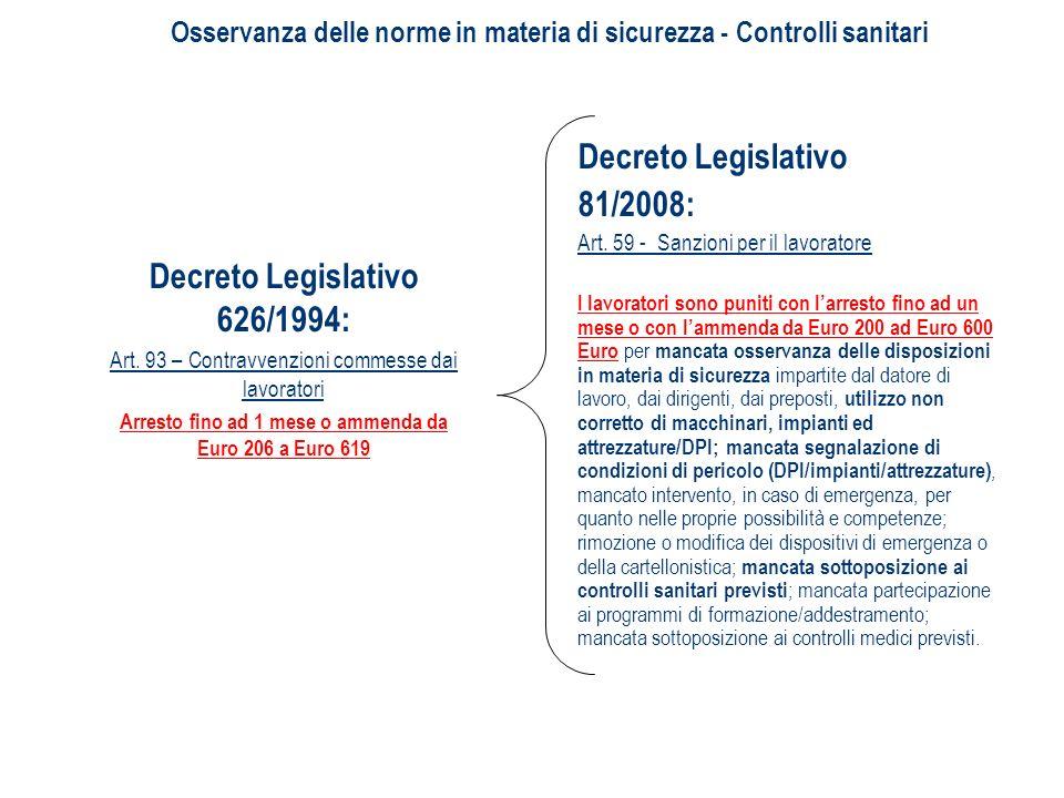 Decreto Legislativo 81/2008: Art. 59 - Sanzioni per il lavoratore I lavoratori sono puniti con larresto fino ad un mese o con lammenda da Euro 200 ad