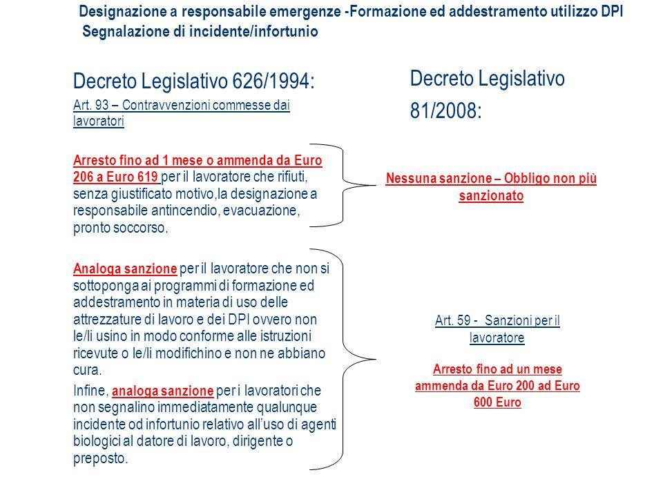 Decreto Legislativo 626/1994: Art. 93 – Contravvenzioni commesse dai lavoratori Arresto fino ad 1 mese o ammenda da Euro 206 a Euro 619 per il lavorat