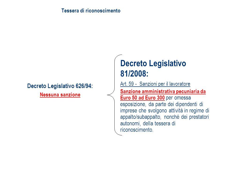 Decreto Legislativo 81/2008: Art. 59 - Sanzioni per il lavoratore Sanzione amministrativa pecuniaria da Euro 50 ad Euro 300 per omessa esposizione, da