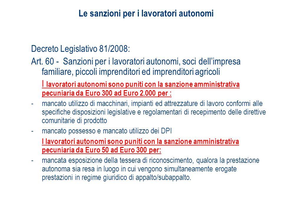 Le sanzioni per i lavoratori autonomi Decreto Legislativo 81/2008: Art. 60 - Sanzioni per i lavoratori autonomi, soci dellimpresa familiare, piccoli i