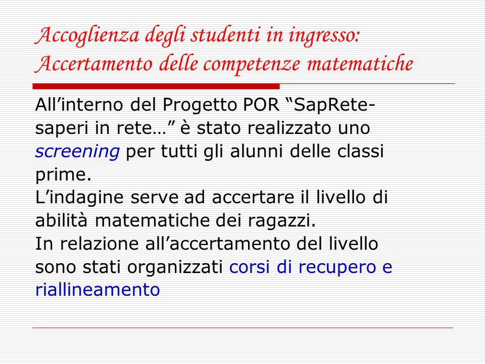 Accoglienza degli studenti in ingresso: Accertamento delle competenze matematiche Allinterno del Progetto POR SapRete- saperi in rete… è stato realizz