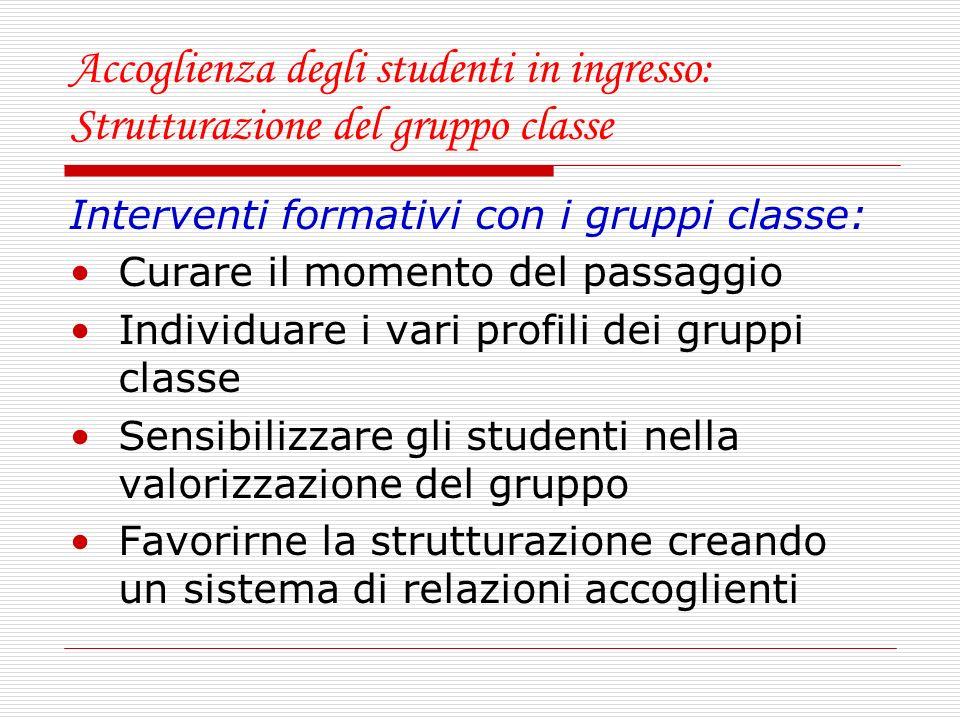 Accoglienza degli studenti in ingresso: Strutturazione del gruppo classe Interventi formativi con i gruppi classe: Curare il momento del passaggio Ind