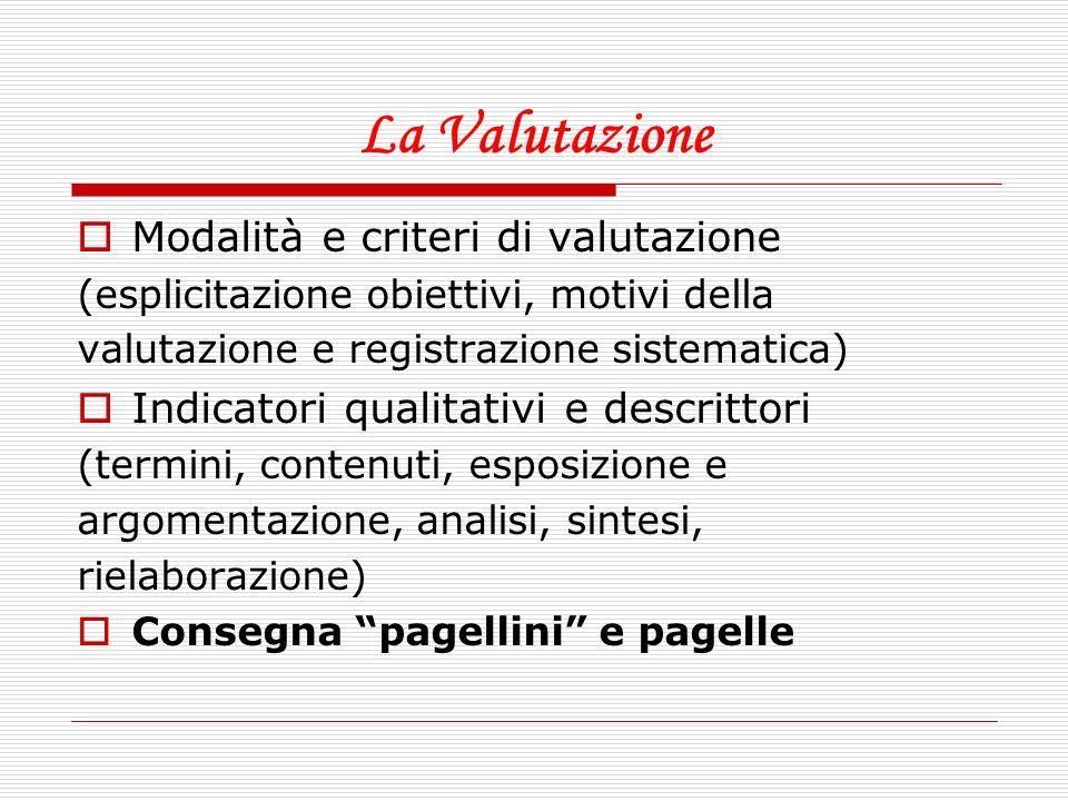 La Valutazione Modalità e criteri di valutazione (esplicitazione obiettivi, motivi della valutazione e registrazione sistematica) Indicatori qualitati