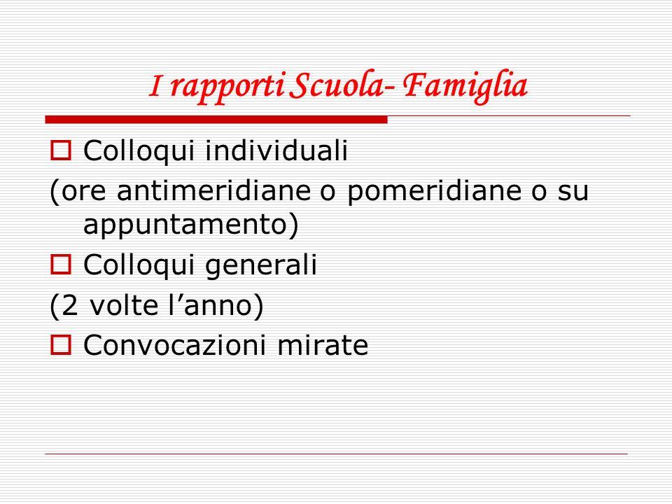 I rapporti Scuola- Famiglia Colloqui individuali (ore antimeridiane o pomeridiane o su appuntamento) Colloqui generali (2 volte lanno) Convocazioni mi