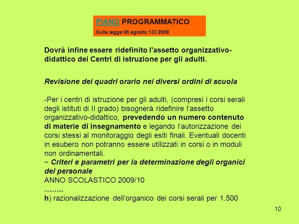 10 PIANOPIANO PROGRAMMATICO Sulla legge 06 agosto 133 2008 Dovrà infine essere ridefinito l assetto organizzativo- didattico dei Centri di istruzione per gli adulti.