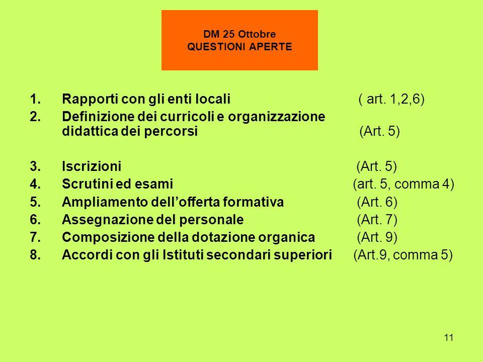 11 DM 25 Ottobre QUESTIONI APERTE 1.Rapporti con gli enti locali ( art. 1,2,6) 2.Definizione dei curricoli e organizzazione didattica dei percorsi (Ar