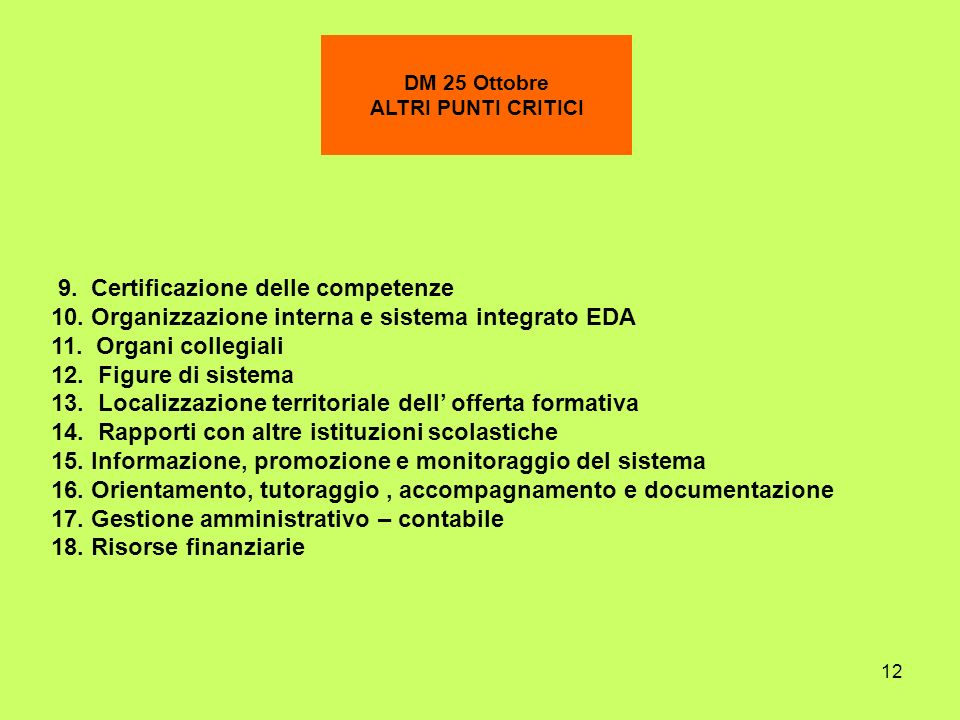 12 DM 25 Ottobre ALTRI PUNTI CRITICI 9. Certificazione delle competenze 10. Organizzazione interna e sistema integrato EDA 11. Organi collegiali 12. F
