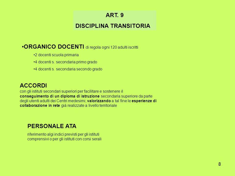 8 ART. 9 DISCIPLINA TRANSITORIA ORGANICO DOCENTI di regola ogni 120 adulti iscritti 2 docenti scuola primaria 4 docenti s. secondaria primo grado 4 do