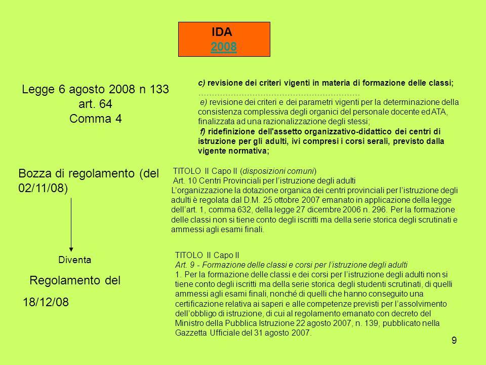 9 IDA 2008 Legge 6 agosto 2008 n 133 art. 64 Comma 4 c) revisione dei criteri vigenti in materia di formazione delle classi; …………………………………………………… e) r