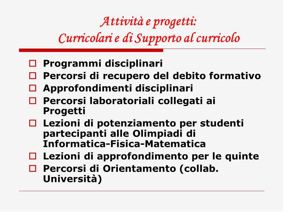 Attività e progetti: Curricolari e di Supporto al curricolo Programmi disciplinari Percorsi di recupero del debito formativo Approfondimenti disciplin