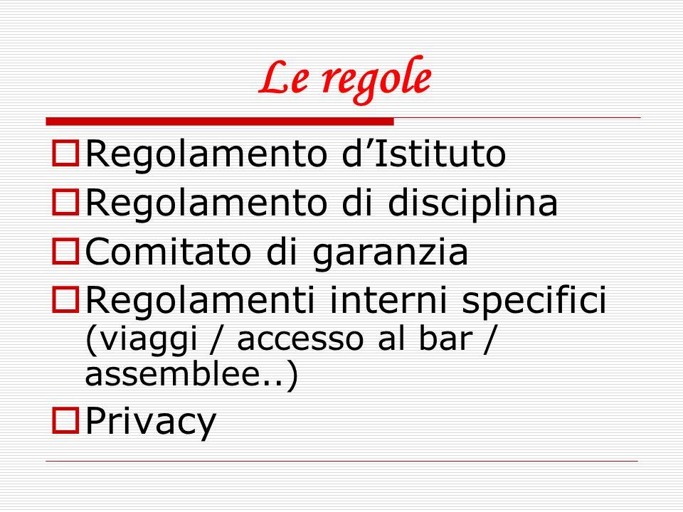 Le regole Regolamento dIstituto Regolamento di disciplina Comitato di garanzia Regolamenti interni specifici (viaggi / accesso al bar / assemblee..) P