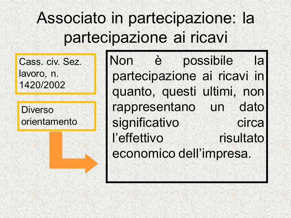 Associato in partecipazione: la partecipazione ai ricavi Non è possibile la partecipazione ai ricavi in quanto, questi ultimi, non rappresentano un dato significativo circa leffettivo risultato economico dellimpresa.