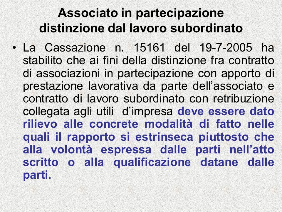 Associato in partecipazione distinzione dal lavoro subordinato La Cassazione n.