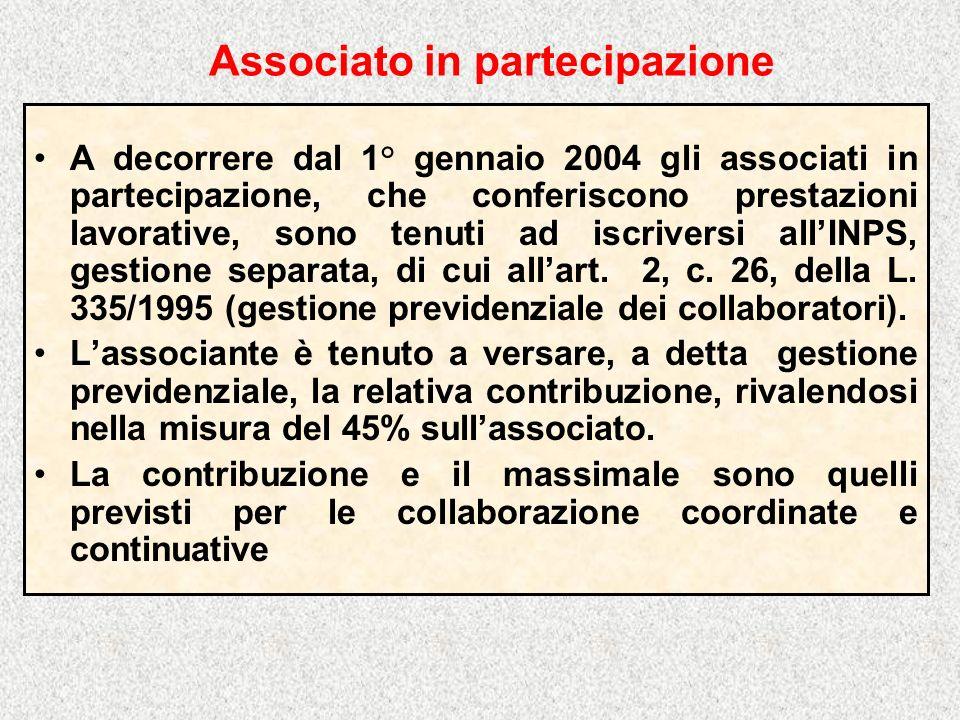 Associato in partecipazione A decorrere dal 1° gennaio 2004 gli associati in partecipazione, che conferiscono prestazioni lavorative, sono tenuti ad iscriversi allINPS, gestione separata, di cui allart.