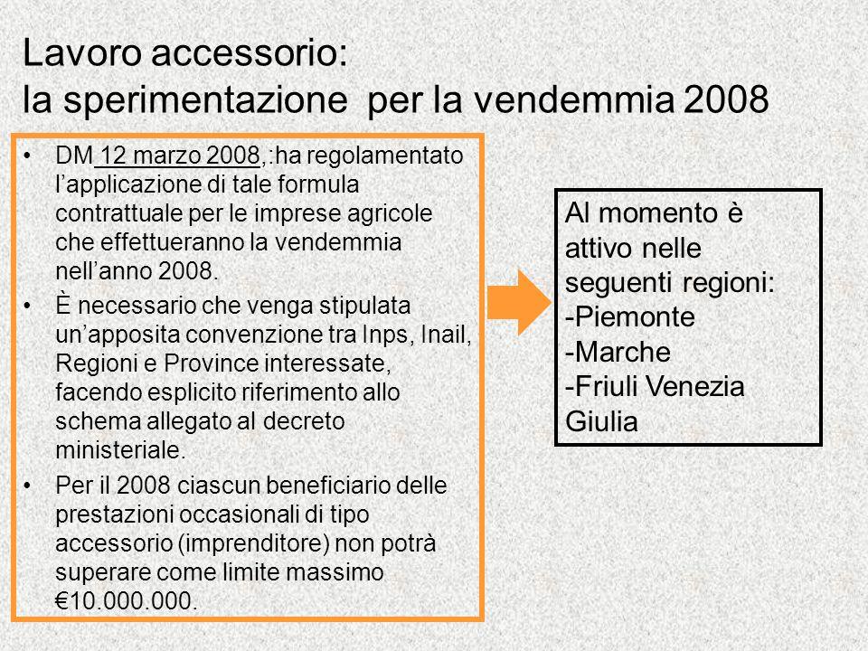 Lavoro accessorio: la sperimentazione per la vendemmia 2008 DM 12 marzo 2008,:ha regolamentato lapplicazione di tale formula contrattuale per le imprese agricole che effettueranno la vendemmia nellanno 2008.