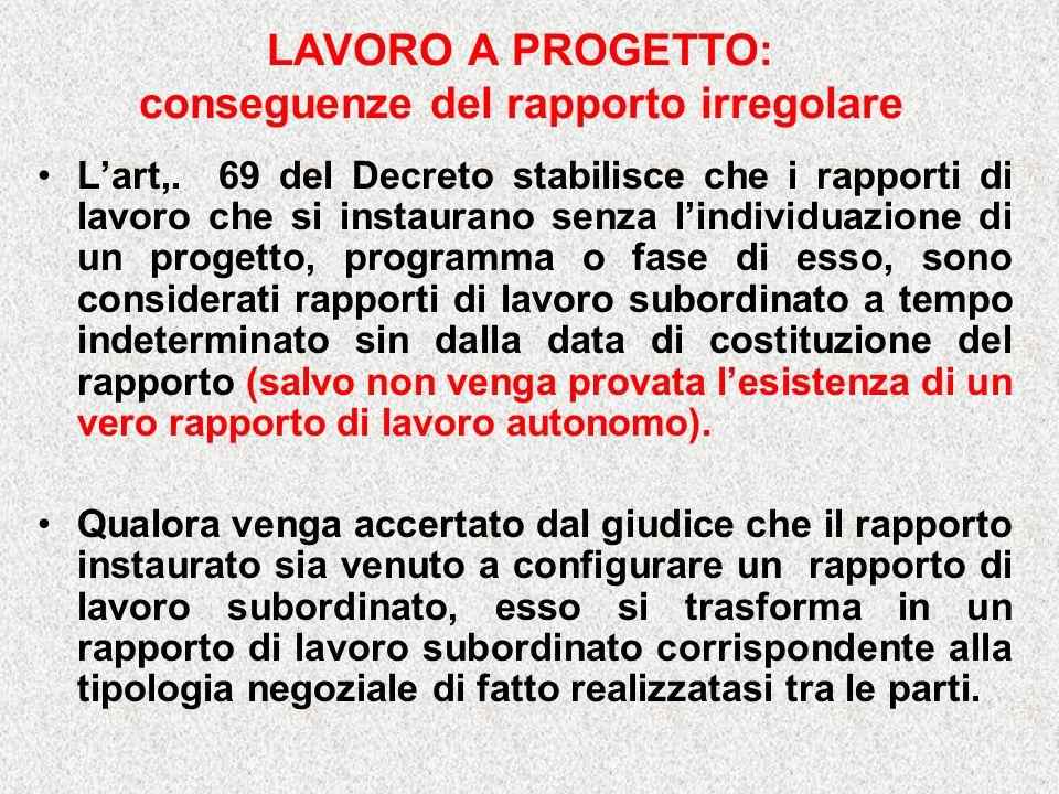 LAVORO A PROGETTO: conseguenze del rapporto irregolare Lart,.