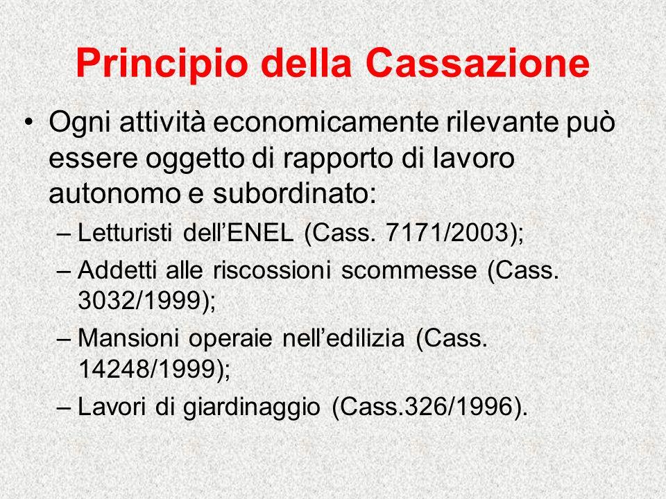 Principio della Cassazione Ogni attività economicamente rilevante può essere oggetto di rapporto di lavoro autonomo e subordinato: –Letturisti dellENEL (Cass.