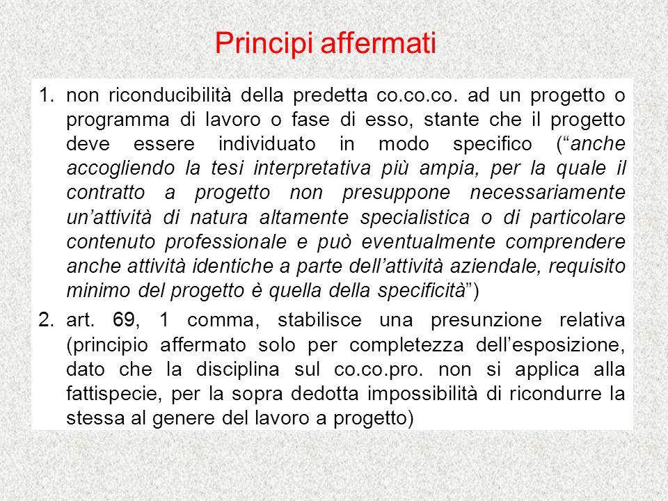 1.non riconducibilità della predetta co.co.co.