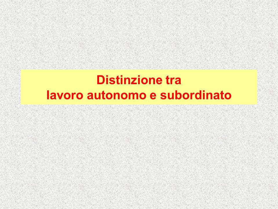 Distinzione tra lavoro autonomo e subordinato