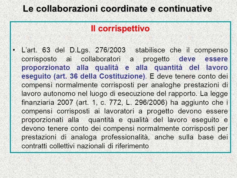 Le collaborazioni coordinate e continuative Il corrispettivo Lart.
