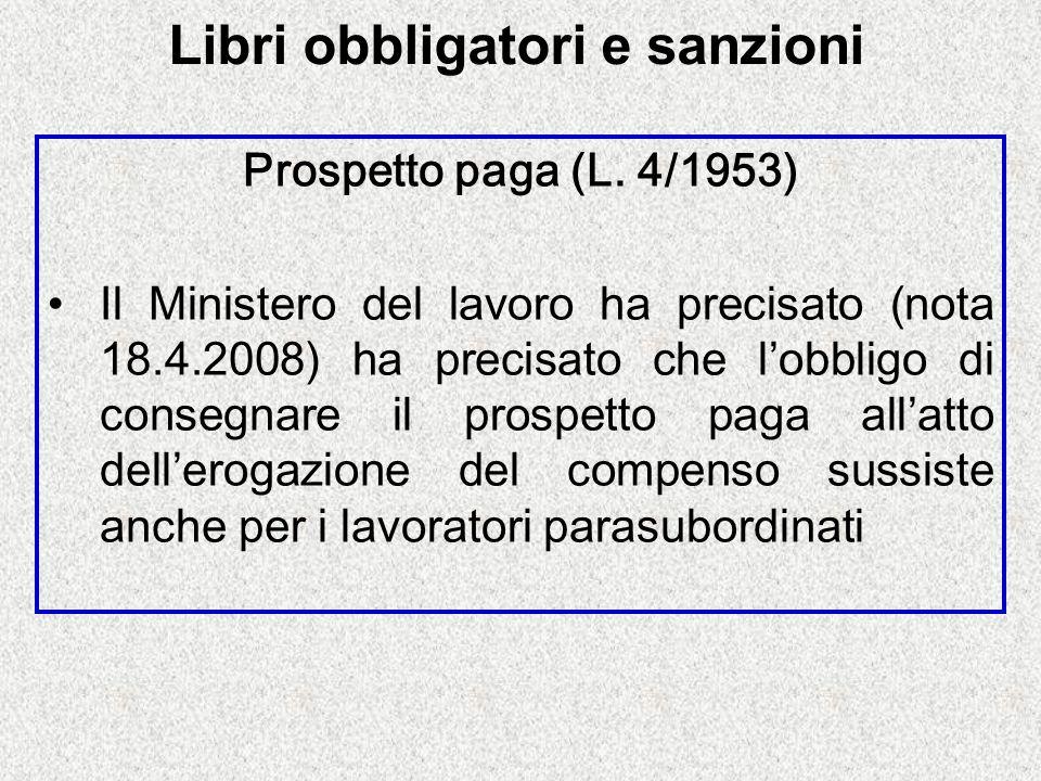 Libri obbligatori e sanzioni Prospetto paga (L.