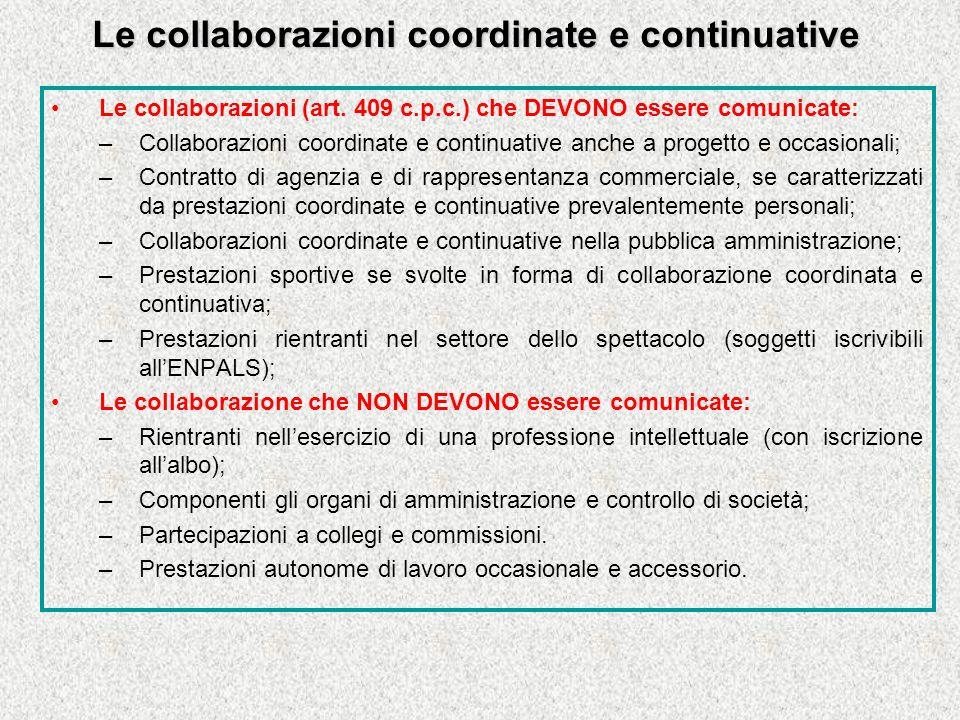Le collaborazioni coordinate e continuative Le collaborazioni (art.