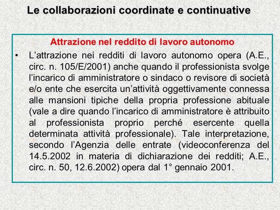 Le collaborazioni coordinate e continuative Attrazione nel reddito di lavoro autonomo Lattrazione nei redditi di lavoro autonomo opera (A.E., circ.