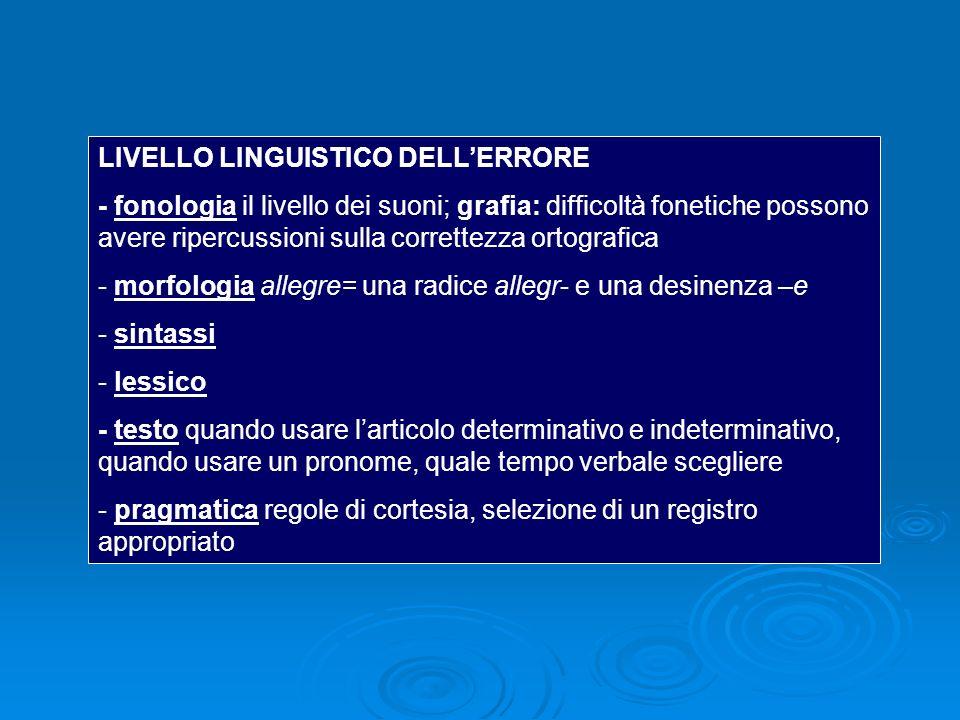 LIVELLO LINGUISTICO DELLERRORE - fonologia il livello dei suoni; grafia: difficoltà fonetiche possono avere ripercussioni sulla correttezza ortografica - morfologia allegre= una radice allegr- e una desinenza –e - sintassi - lessico - testo quando usare larticolo determinativo e indeterminativo, quando usare un pronome, quale tempo verbale scegliere - pragmatica regole di cortesia, selezione di un registro appropriato
