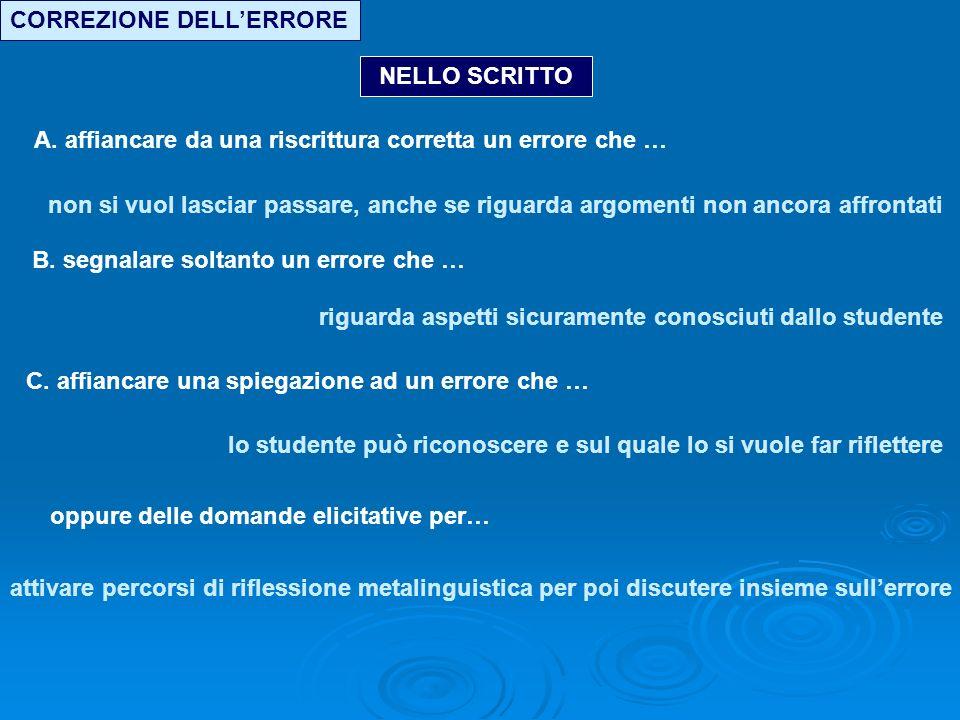 CORREZIONE DELLERRORE NELLO SCRITTO A.