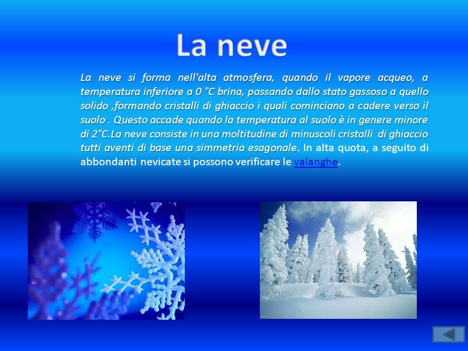 La neve si forma nell'alta atmosfera, quando il vapore acqueo, a temperatura inferiore a 0 °C brina, passando dallo stato gassoso a quello solido,form