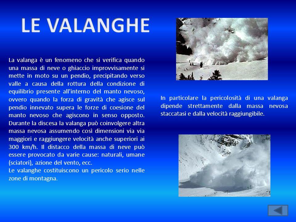 La valanga è un fenomeno che si verifica quando una massa di neve o ghiaccio improvvisamente si mette in moto su un pendio, precipitando verso valle a