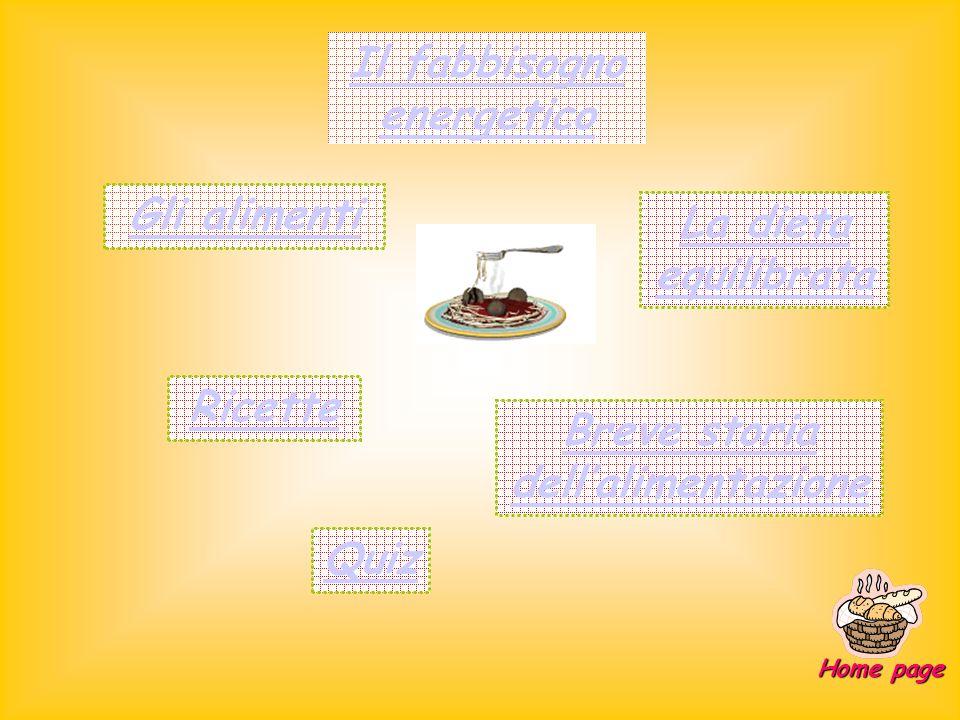 Il fabbisogno energetico Gli alimenti La dieta equilibrata Breve storia dellalimentazione Ricette Quiz Home page