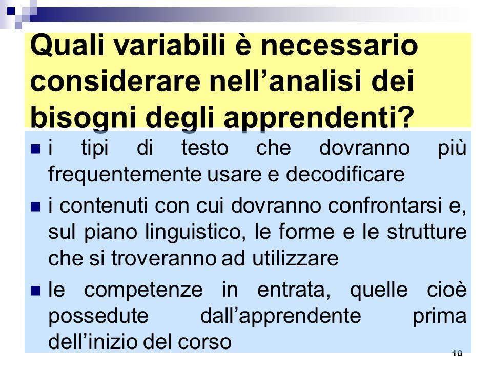 10 Quali variabili è necessario considerare nellanalisi dei bisogni degli apprendenti? i tipi di testo che dovranno più frequentemente usare e decodif